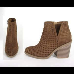 Shoes - Cognac Perforated Booties